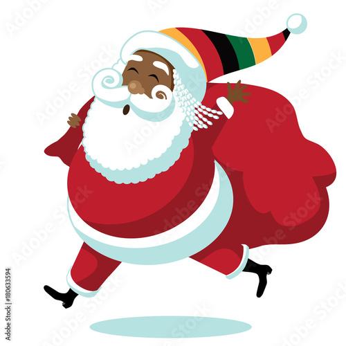 Fotografie, Obraz  Cartoon Rastafarian Santa Claus