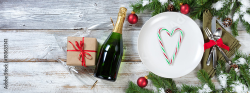 Holiday New Year and Christmas Table place setting with gifts Canvas Print