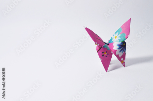 Fotografie, Obraz  colorful origami butterfly on white background