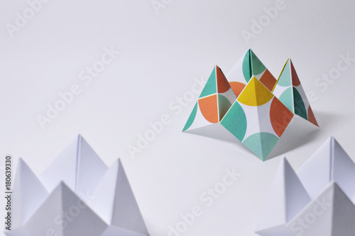 Obraz na plátně three origami fortune tellers on white background