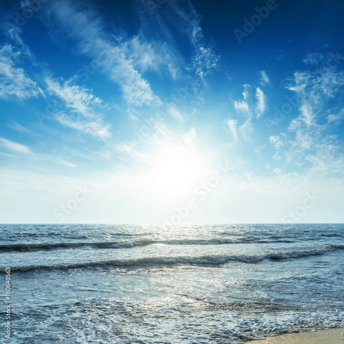 Poster Mer / Ocean blue sky with sunset over sea