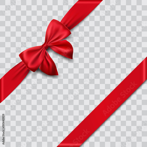 Vászonkép red satin ribbon and bow vector illustration