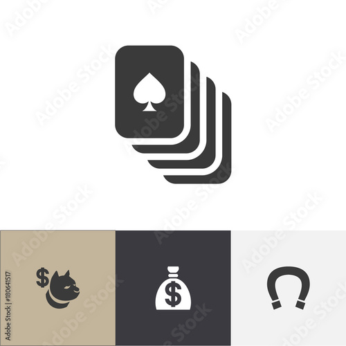 Set Of 4 Editable Casino Icons Includes Symbols Such As Luck Charm