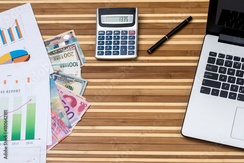 Dollar Franc Euro Yuan And Yen With Calculator Laptop Businesss Graph