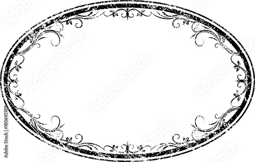 Fototapeta Decorative vector oval floral frame with leaves in grunge style for your design. obraz