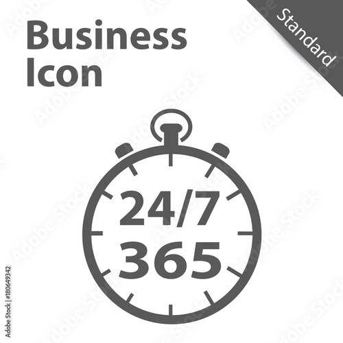Fotografiet  Business Clock Icon 24/7 365 Days - Standard label for Customer Service, Support, Call Center