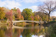 Scenic Bow Bridge in Central Park New York City with colorful autumn leaves