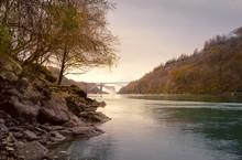 Niagara Falls And The Rainbow Bridge From The Gorge