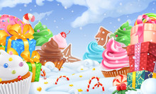 Cupcake, Gift Box. Winter Sweet Landscape. Christmas Background. 3d Vector Illustration