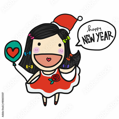 Photo Stands Fairies and elves Cute Santa Claus girl say Happy New Year cartoon vector doodle style
