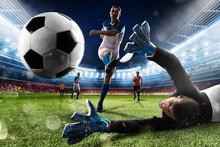 Goalkeeper Kicks The Ball In T...