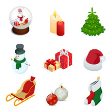 Isometric Set Of Christmas New...