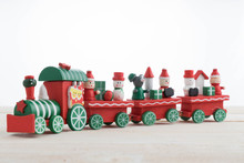 Toy Train On Wooden For Christmas