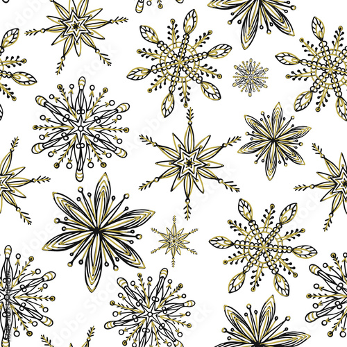 Cotton fabric Winter seamless pattern. Hand drawn creative snowflakes. Snowfall. Artistic background with decorative snow. It can be used for wallpaper, textiles, wrapping, card, cover. Vector illustration, eps10