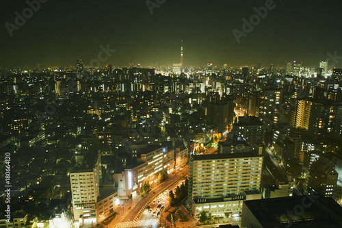 Plakat Tokio nocny widok