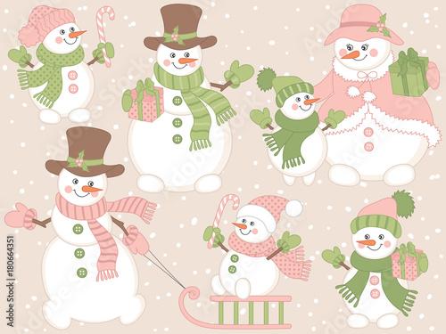 Valokuvatapetti Vector Christmas and New Year Set with Cute Cartoon Snowmen