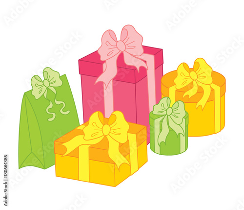 Valokuva Vector Gift Boxes Decorated with Bows