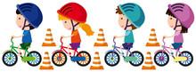 Children Riding Bike With Helm...