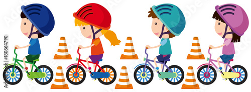 Foto Children riding bike with helmet on