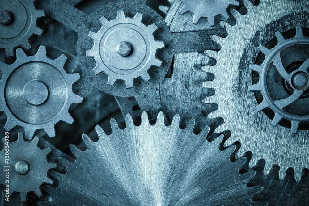 Fototapeta cogs and gears blue metal background