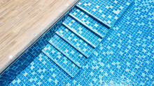 Swimming Pool With Blue Mosaic...