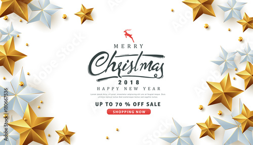 merry christmas and happy new year sale banner background with christmas icon setdiscount gift - Discount Christmas Cards
