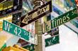 New York signs at snow