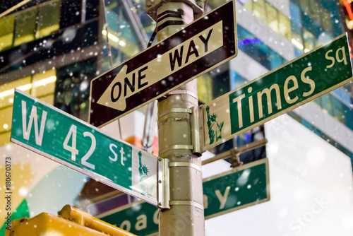 In de dag New York New York signs at snow