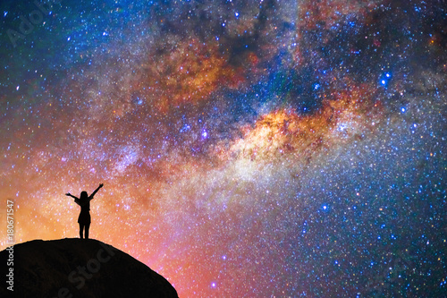 milky way, star, with happy girl on the mountain Wallpaper Mural