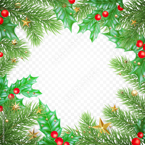 Christmas Greeting Card Template Background Of Holly Leaf