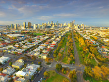 Aerial View Melbourne CBD From Port Melbourne