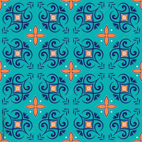Zdjęcie XXL Wektorowy bezszwowy wzór z kwiecistym ornamentem.