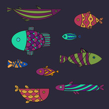 Set Of Cute Sea Fish. Vector I...