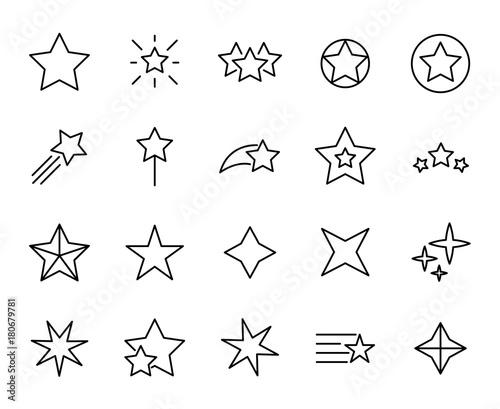 Obraz Premium set of star line icons. - fototapety do salonu