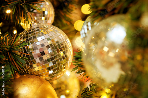 joy to decorative with mirror ball or Christmas ball to decorative for Christmas festival with bokeh background Canvas-taulu