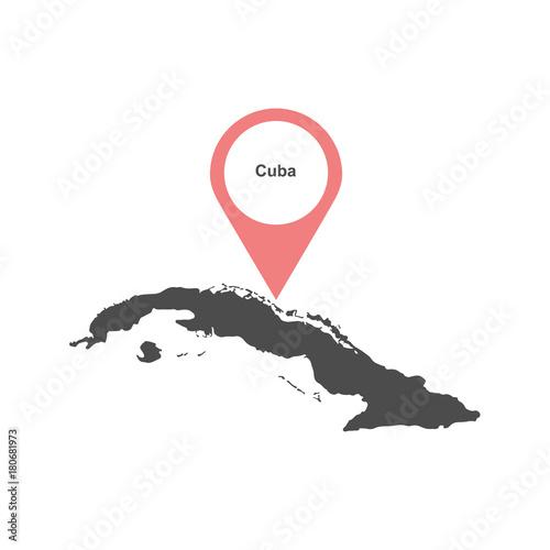 Fotografie, Obraz Cuba-map-vector