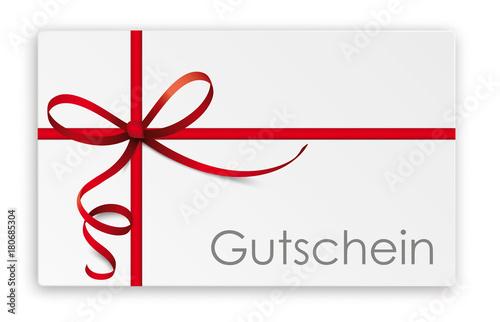 Carta da parati  Gutschein Karte mit rotem Band