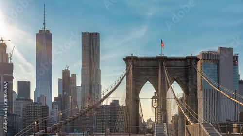 Keuken foto achterwand New York Manhattan skyline with Brooklyn Bridge in New York City, USA.
