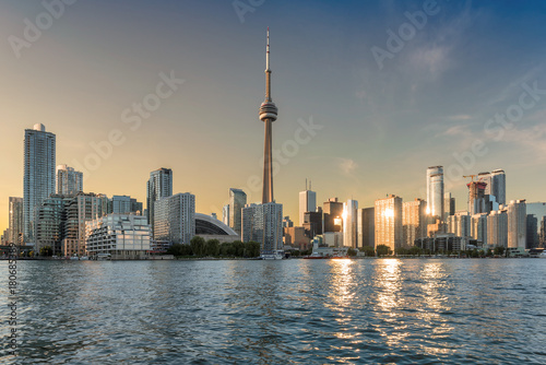 Toronto skyline at sunset, Canada.