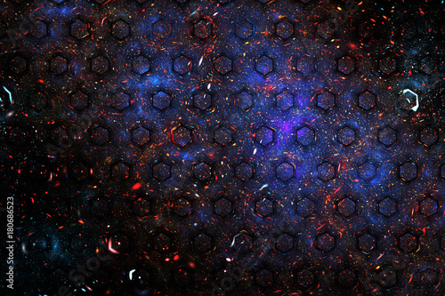 Abstract Geometric Texture With Red Blue And Golden