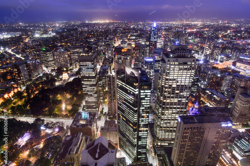 SYDNEY, AUSTRALIA. – On October 10, 2017 –The city view of sydney at night from sydney tower © RomixImage