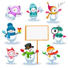 Set Of Cute Snowmen In Various...