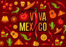 Viva Mexico Lettering And Icon...