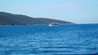 CROATIA, ADRIATIC SEA, 2017.11.07: Small tourist ship passing by moving sailing boat. Shot from sailing boat in slow motion hd.