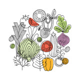 Vegetables round composition. Linear graphic. Vegetables background. Scandinavian style. Healthy food. Vector illustration - 180691535