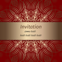Invitation In Red And Gold Col...