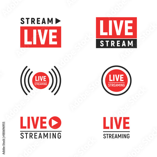 Vászonkép Live streaming symbols set