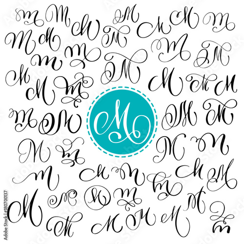 Set Of Hand Drawn Vector Calligraphy Letter M Script Font Isolated Letters Written With