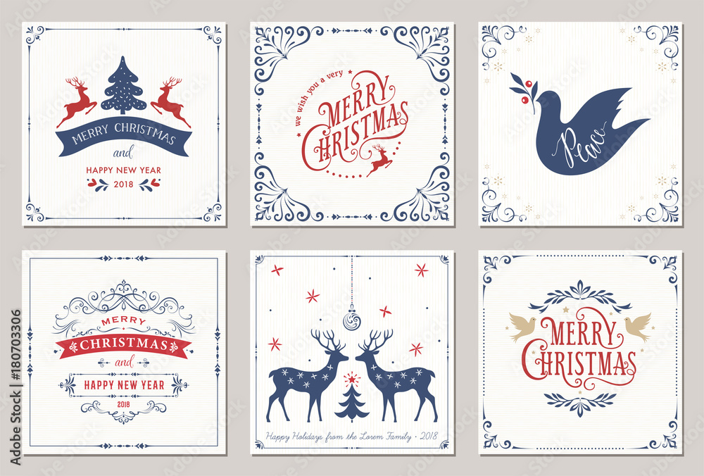 Fototapety, obrazy: Ornate square winter holidays greeting cards with New Year tree, reindeers, Christmas ornaments, Peace Doves, swirl frames and typographic design.