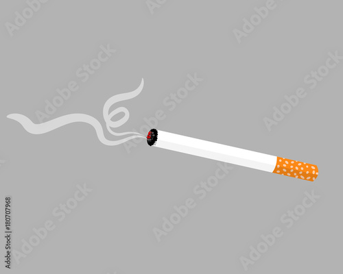 Fotografija  Smoldering cigarette isolated on gray background